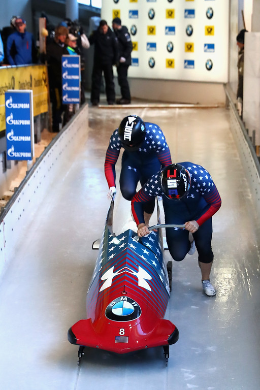 . KOENIGSSEE, GERMANY - JANUARY 28:  Bob pilot Steven Holcomb of USA and his team mate Carlos Valdes compete at the  first run of the 2-man Bobsleigh BMW IBSF World Cup at Deutsche Post Eisarena Koenigssee on January 28, 2017 in Koenigssee, Germany.  (Photo by Alexander Hassenstein/Getty Images For IBSF)
