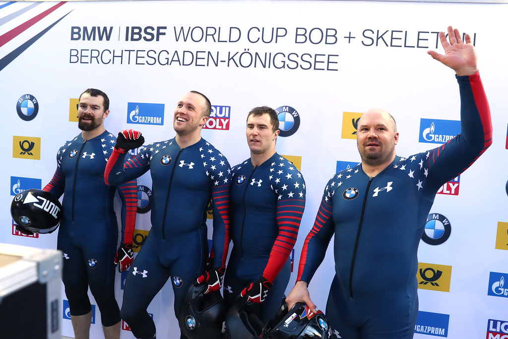 . KOENIGSSEE, GERMANY - JANUARY 29:  Steven Holcomb, Carlo Vades, James Reed and Samuel Mc Guffie of USA celebrate after the second run of the 4-man Bobsleigh BMW IBSF World Cup at Deutsche Post Eisarena Koenigssee on January 29, 2017 in Koenigssee, Germany.  (Photo by Alexander Hassenstein/Getty Images For IBSF)
