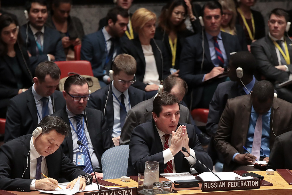 . NEW YORK, NY - APRIL 7: Russian Deputy Permanent Representative to the United Nations Vladimir Safronkov listens during a meeting of the United Nations Security Council concerning the situation in Syria, at UN headquarters, April 7, 2017 in New York City. On Thursday night, the United States launched airstrikes directed at Syrian government air bases in response to the chemical attack earlier in the week. (Photo by Drew Angerer/Getty Images)