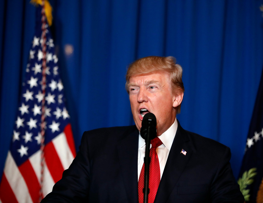 . President Donald Trump speaks at Mar-a-Lago in Palm Beach, Fla., Thursday, April 6, 2017, after the U.S. fired a barrage of cruise missiles into Syria Thursday night in retaliation for this week\'s gruesome chemical weapons attack against civilians. (AP Photo/Alex Brandon)