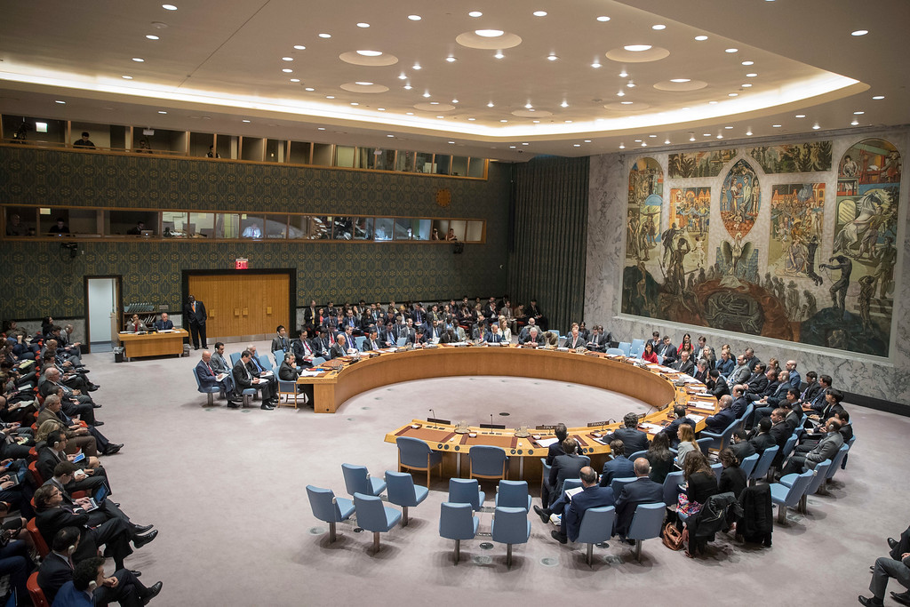 . The United Nations Security Council holds a meeting on the situation in Syria, Friday, April 7, 2017, at United Nations headquarters. (AP Photo/Mary Altaffer)