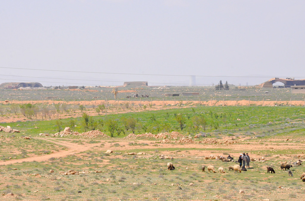 ". Syrian shepherds tend their flock near the damaged Shayrat (""ash-Shairat\"") airfield at the Syrian government forces military base targeted earlier overnight by US Tomahawk cruise missiles, southeast of the central and third largest Syrian city of Homs, on April 7, 2017. (STRINGER/AFP/Getty Images)"