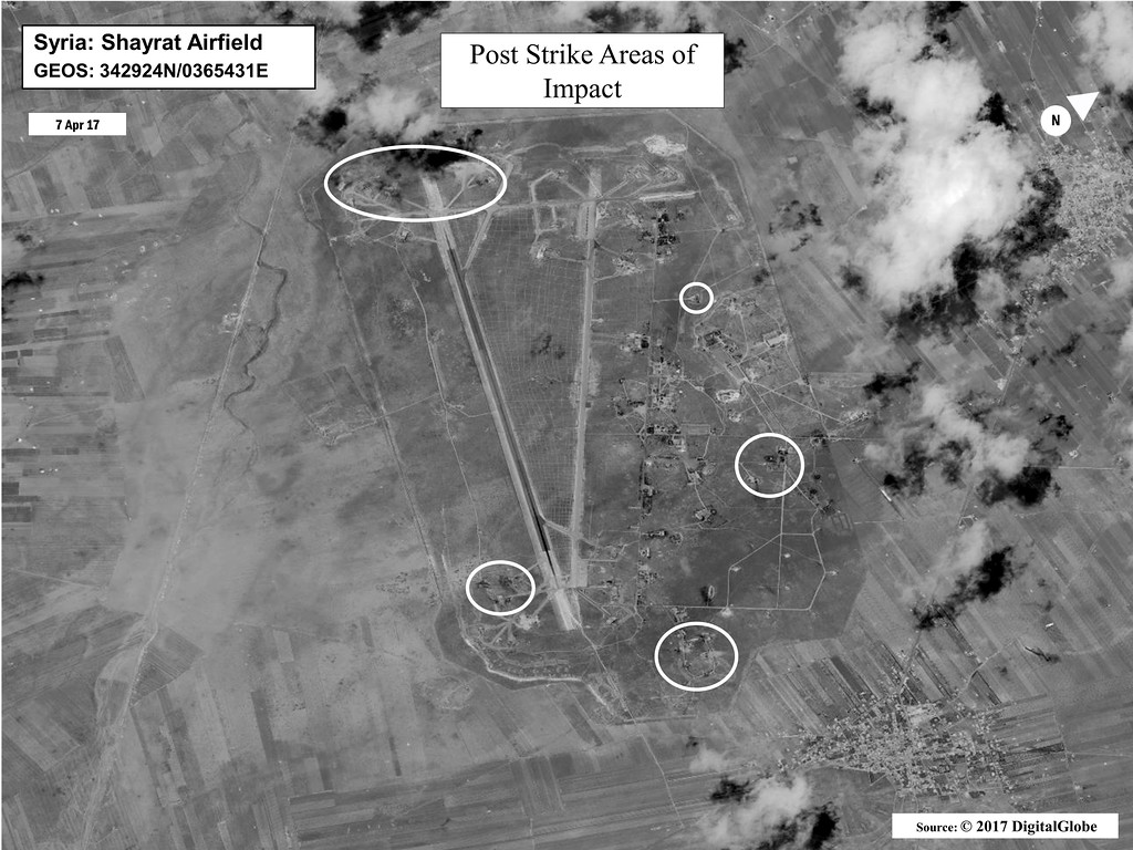 . This satellite image released by the U.S. Department of Defense shows a damage assessment image of Shayrat air base in Syria, following U.S. Tomahawk Land Attack Missile strikes on Friday, April 7, 2017 from the USS Ross (DDG 71) and USS Porter (DDG 78), Arleigh Burke-class guided-missile destroyers. The United States blasted the air base with a barrage of cruise missiles on Friday, April 7, 2017 in fiery retaliation for this week\'s gruesome chemical weapons attack against civilians. (DigitalGlobe/U.S. Department of Defense via AP)