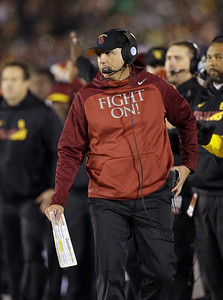 Southern California interim head coach Clay Helton watches during the first half of an NCAA college football game against Notre Dame, Saturday, Oct. 17, 2015, in South Bend, Ind. (AP Photo/Darron Cummings)