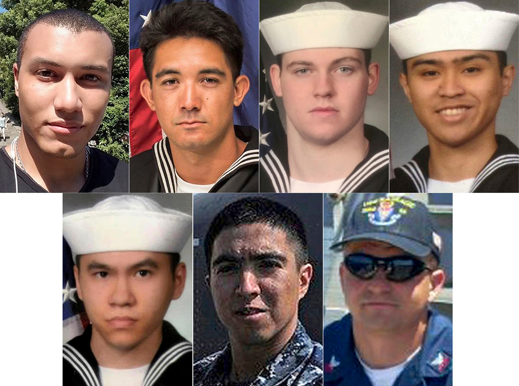 . This combination of undated photos released Monday, June 19, 2017, by the U.S. Navy shows the seven U.S. sailors who died in a collision between the USS Fitzgerald and a container ship off Japan on Saturday, June 17, 2017. From top left to right, Personnel Specialist 1st Class Xavier Alec Martin, 24, from Halethorpe, Maryland, Yeoman 3rd Class Shingo Alexander Douglass, 25, from San Diego, California, Gunner\'s Mate Seaman Dakota Kyle Rigsby, 19, from Palmyra, Virginia,  and Fire Controlman 2nd Class Carlos Victor Ganzon Sibayan, 23, from Chula Vista, California.  From bottom left to right,  Sonar Technician 3rd Class Ngoc T Truong Huynh, 25, from Oakville, Connecticut, Gunner\'s Mate 2nd Class Noe Hernandez, 26, from Weslaco, Texas, and Fire Controlman 1st Class Gary Leo Rehm Jr., 37, from Elyria, Ohio.  (U.S. Navy via AP)