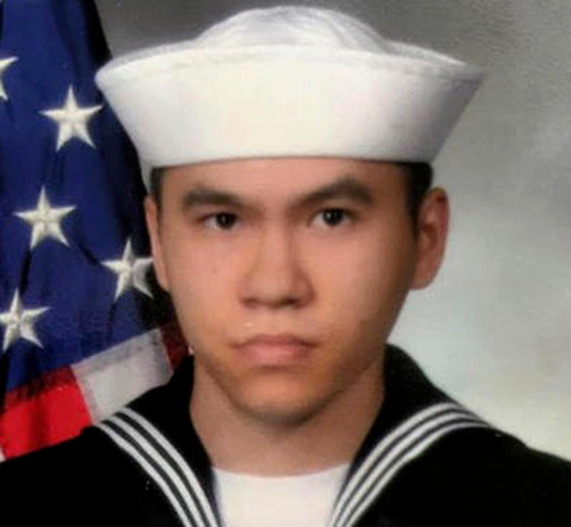 . This undated photo released by the U.S. Navy, Monday, June 19, 2017, shows Sonar Technician 3rd Class Ngoc T Truong Huynh, 25, from Oakville, Connecticut. Huynh is one of the seven sailors who died in a collision between the USS Fitzgerald and a container ship off Japan on Saturday, June 17, 2017.  (U.S. Navy via AP)
