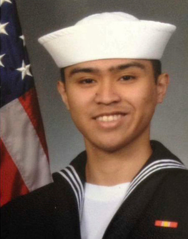 . This undated photo released by the U.S. Navy, Monday, June 19, 2017, shows Fire Controlman 2nd Class Carlos Victor Ganzon Sibayan, 23, from Chula Vista, California. Sibayan is one of the seven sailors who died in a collision between the USS Fitzgerald and a container ship off Japan on Saturday, June 17, 2017. (U.S. Navy via AP)
