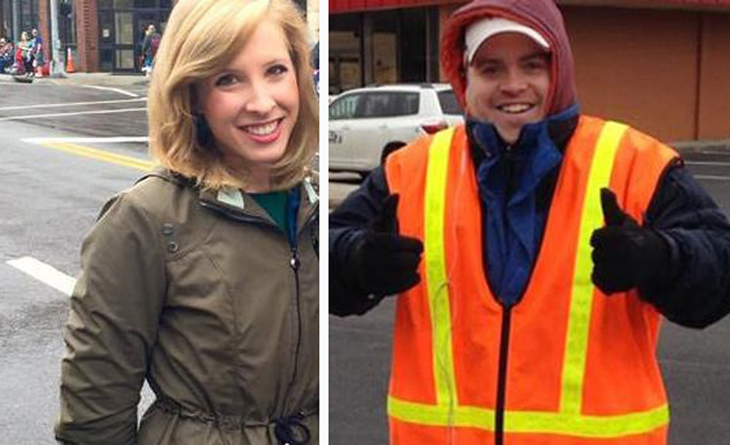 . This undated composite photograph made available by WDBJ-TV shows reporter Alison Parker, left, and cameraman Adam Ward. Parker and Ward were fatally shot during an on-air interview, Wednesday, Aug. 26, 2015, in Moneta, Va. Authorities identified the suspect as fellow journalist Vester Lee Flanagan II, who appeared on WDBJ-TV as Bryce Williams. Flanagan was fired from the station earlier this year. (Courtesy of WDBJ-TV via AP)