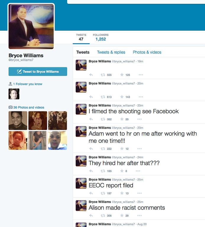 . This screen shot shows the Twitter page of Bryce Williams, whose real name is Vester Lee Flanagan II, shortly after he fatally shot WDBJ-TV cameraman Adam Ward and reporter Alison Parker during a live broadcast in Moneta, Va., early Wednesday morning, Aug. 26, 2015. The station said Flanagan was also an employee at WDBJ and appeared on air as Bryce Williams. (Twitter via AP)