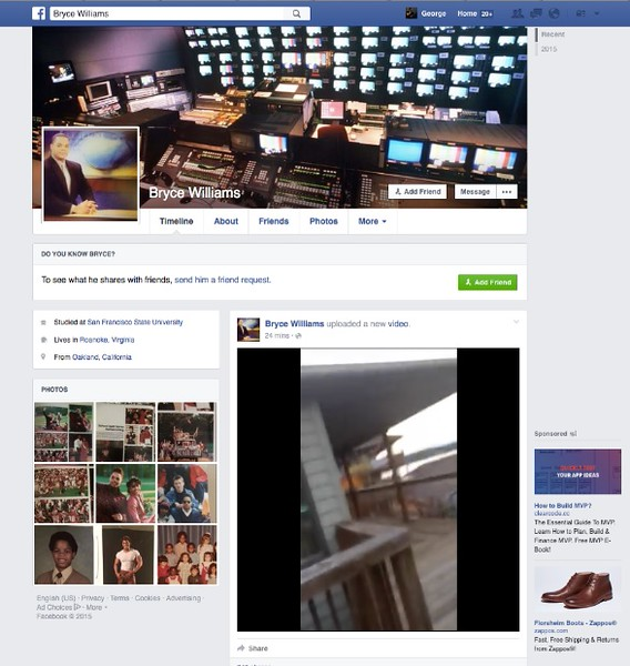 . This screen shot shows the Facebook page of Bryce Williams, whose real name is Vester Lee Flanagan II, shortly after he fatally shot WDBJ-TV cameraman Adam Ward and reporter Alison Parker during a live broadcast in Moneta, Va., early Wednesday morning, Aug. 26, 2015. The station said Flanagan was also an employee at WDBJ and appeared on air as Bryce Williams.