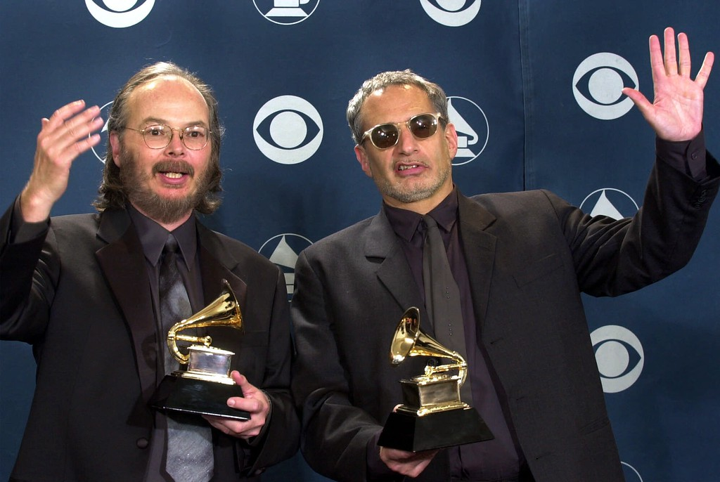 ". Walter Becker, left, and Donald Fagen of Steely Dan show off their award for best pop vocal album for ""Two Against Nature\"" at the 43rd annual Grammy Awards Wednesday, Feb. 21, 2001, at the Staples Center in Los Angeles. (AP Photo/Mark J. Terrill)"