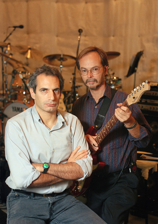 . File - Donald Fagen, left, and Walter Becker of Steely Dan pose together at New York\'s S.I.R. Studios before rehearsal for their upcoming tour, Aug. 5, 1993. Becker, the guitarist, bassist and co-founder of the rock group Steely Dan, has died. He was 67. His official website announced his death Sunday, Sept. 3, 2017. (AP Photo/Richard Drew)