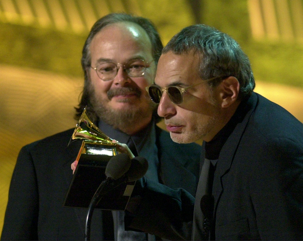 . Steely Dan founders and members Donald Fagen, right, and Walter Becker accept the Grammy for best pop vocal album for \'Two Against Nature\' at the 43rd annual Grammy Awards Wednesday, Feb. 21, 2001, at the Staples Center in Los Angeles. (AP Photo/Kevork Djansezian)