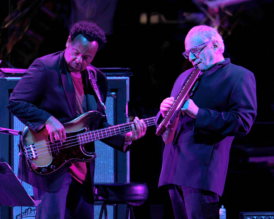 . Freddie Washington and Walter Becker of Steely Dan perform at the Hollywood Bowl Saturday. 6/18/16 (Kelly A. Swift/Contributing photographer)