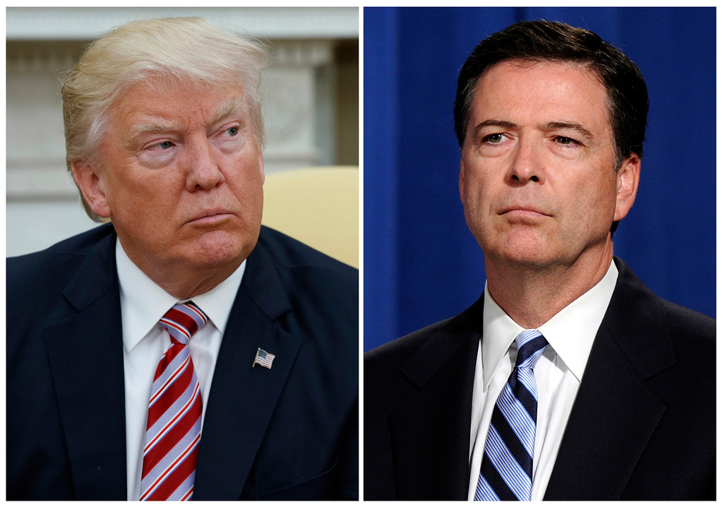 . In this combination photo, President Donald Trump, left, appears in the Oval Office of the White House in Washington on May 10, 2017, and FBI Director James Comey appears at a news conference in Washington on June 30, 2014.  Comey is making his first public comments since being fired by President Donald Trump and, according to his prepared remarks, will talk about the president\'s efforts put the investigation behind him. (AP Photo/Evan Vucci, left, and Susan Walsh, File)