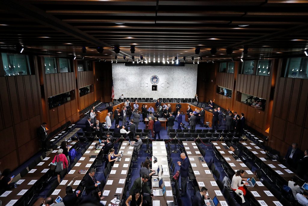 . The hearing room is prepared for Former FBI Director James Comey to appear before the Senate Intelligence Committee, on Capitol Hill, Thursday, June 8, 2017, in Washington. (AP Photo/Alex Brandon)