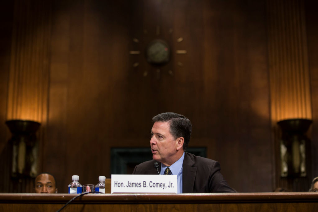 . File - Director of the Federal Bureau of Investigation, James Comey testifies in front of the Senate Judiciary Committee during an oversight hearing on the FBI on Capitol Hill May 3, 2017 in Washington, DC. President Donald Trump has fired Comey. In a statement released Tuesday, May 9, Trump says Comey�s firing �will mark a new beginning� for the FBI.  (Photo by Zach Gibson/Getty Images)