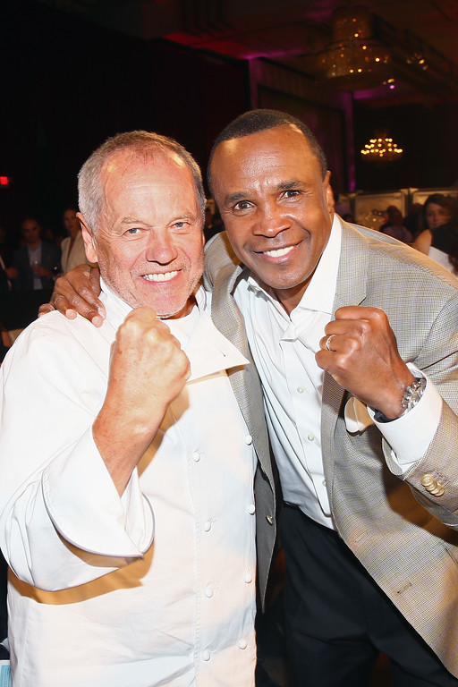 """. HOLLYWOOD, CA - MAY 13:  Chef Wolfgang Puck (L) and former boxer Sugar Ray Leonard attend B. Riley & Co. And Sugar Ray Leonard Foundation\'s 6th Annual \""""Big Fighters, Big Cause\"""" Charity Boxing Night at The Ray Dolby Ballroom on May 13, 2015 in Hollywood, California.  (Photo by Mark Davis/Getty Images for Sugar Ray Leonard Foundation)"""