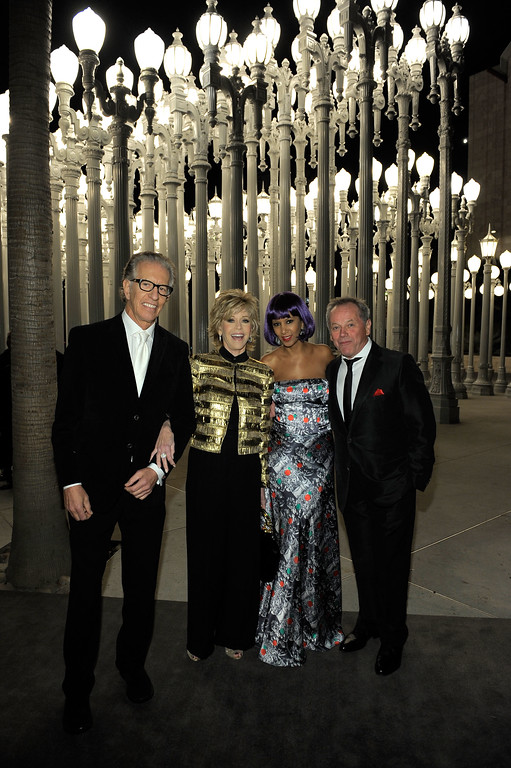 . LOS ANGELES, CA - NOVEMBER 05:  (L-R) Record producer Richard Perry, actress Jane Fonda, Gelila Puck and chef Wolfgang Puck attend LACMA Art + Film Gala Honoring Clint Eastwood and John Baldessari Presented By Gucci at Los Angeles County Museum of Art on November 5, 2011 in Los Angeles, California.  (Photo by Charley Gallay/Getty Images for LACMA)