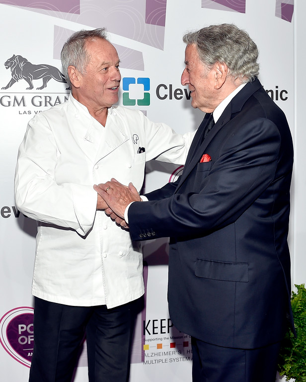 . LAS VEGAS, NV - MAY 21:  Celebrity chef Wolfgang Puck (L) and honoree Tony Bennett attend Keep Memory Alive\'s 20th Annual Power Of Love Gala at the MGM Grand Garden Arena on May 21, 2016 in Las Vegas City.  (Photo by David Becker/Getty Images for Keep Memory Alive)