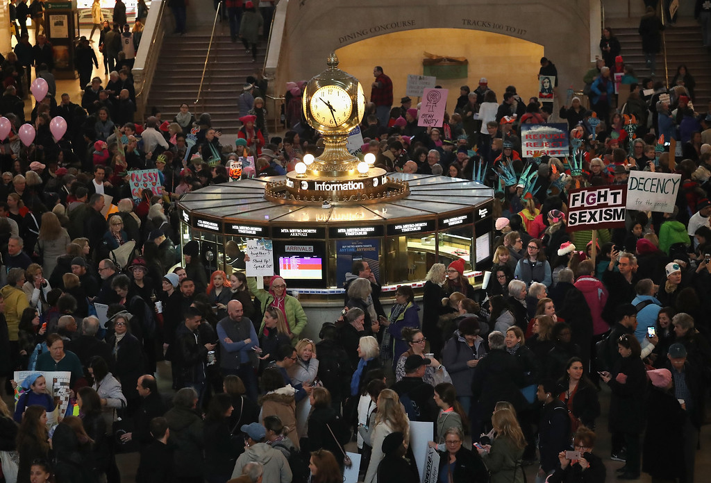 . NEW YORK, NY - JANUARY 21:  Thousands of people arrive to Grand Central Station to take part in the Women\'s March on January 21, 2017 in New York City. The Midtown Manhattan event was one of many anti-Trump protests nationwide that came a day after Donald Trump was sworn in as the 45th President of the United States.  (Photo by John Moore/Getty Images)