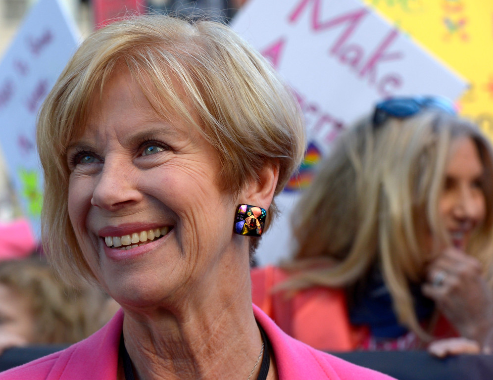 . Janice Hahn, member of the Los Angeles County Board of Supervisor during Women\'s March Los Angeles, a national movement to unify and empower everyone who stands for women�s rights, human rights, civil liberties, and social justice for all, the march begun at Pershing Square  and marched along Hill and Broadway to City hall on Saturday, Jan. 21, 2017 in Los Angeles. (Photo by Keith Birmingham, Pasadena Star-News/SCNG)