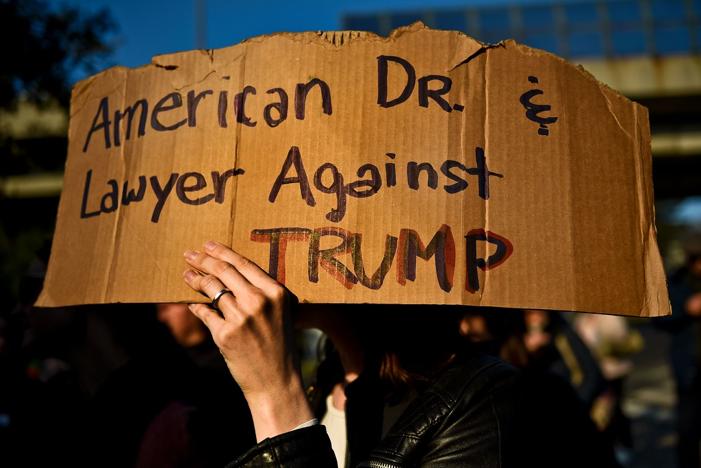 . A person holds a sign during a march in central Lisbon on January 21, 2017 in a mark of  solidarity for the political rally promoting the rights and equality for women, Women\'s March on Washington, taking place today in the US capital. (PATRICIA DE MELO MOREIRA/AFP/Getty Images)