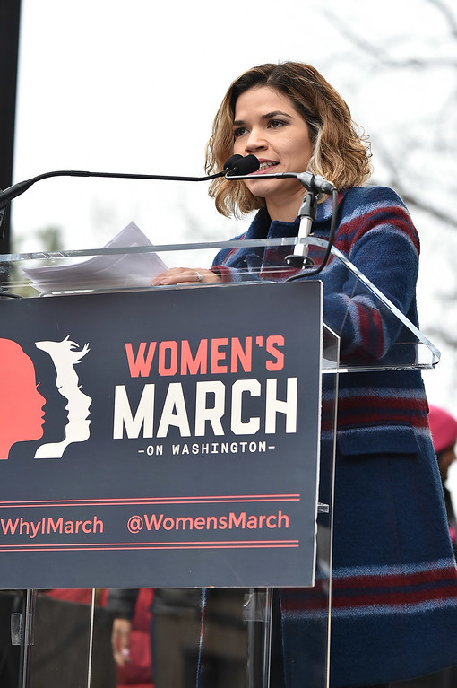 . WASHINGTON, DC - JANUARY 21:  America Ferrara speaks onstage during the Women\'s March on Washington on January 21, 2017 in Washington, DC.  (Photo by Theo Wargo/Getty Images)