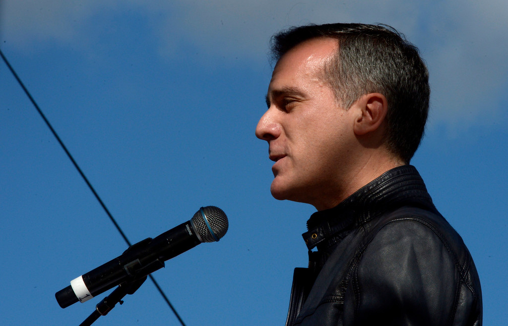 . Mayor Eric Garcetti speaks during Women\'s March Los Angeles, a national movement to unify and empower everyone who stands for women�s rights, human rights, civil liberties, and social justice for all, the march begun at Pershing Square  and marched along Hill and Broadway to City hall on Saturday, Jan. 21, 2017 in Los Angeles. (Photo by Keith Birmingham, Pasadena Star-News/SCNG)
