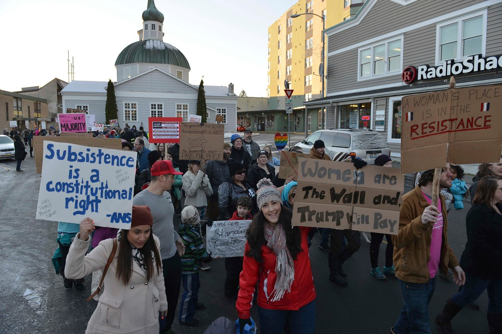 . Hundreds of people marched in downtown Sitka, Alaska, during the women\'s march, held in solidarity with the Women\'s March on Washington, Saturday, Jan. 21, 2017. (James Poulson/The Daily Sitka Sentinel via AP)