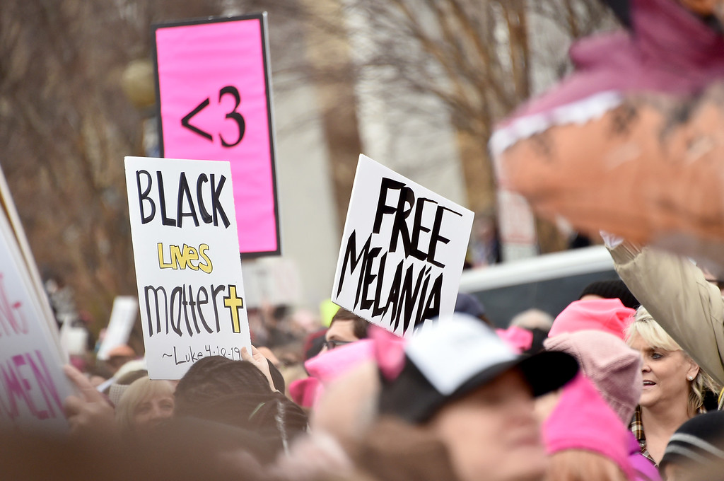 . WASHINGTON, DC - JANUARY 21:  Protesters gather at the Women\'s March On Washington on January 21, 2017 in Washington, DC.  (Photo by Mike Coppola/Getty Images)