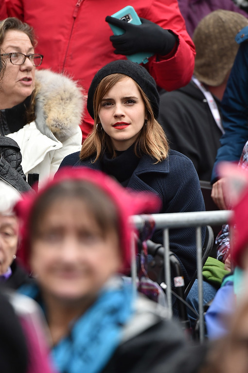 . WASHINGTON, DC - JANUARY 21:  Emma Watson attends the Women\'s March on Washington on January 21, 2017 in Washington, DC.  (Photo by Theo Wargo/Getty Images)