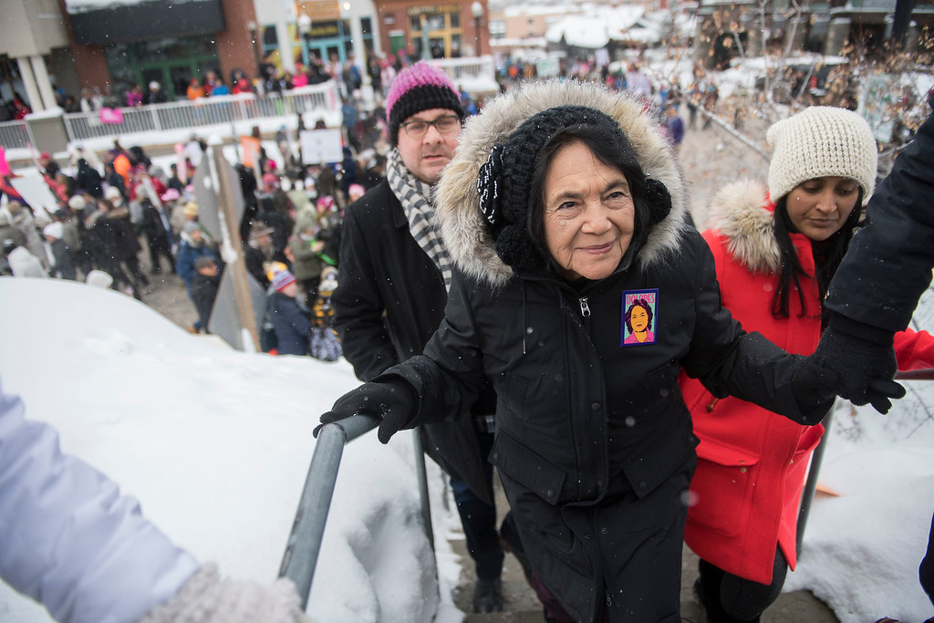""". Civil rights activist Dolores Huerta participates in the \""""Women\'s March On Main\"""" during the 2017 Sundance Film Festival on Saturday, Jan. 21, 2017, in Park City, Utah. (Photo by Arthur Mola/Invision/AP)"""