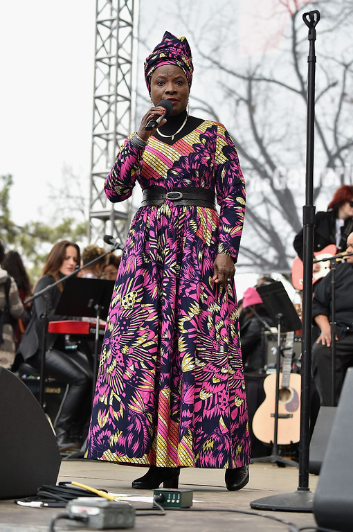 . WASHINGTON, DC - JANUARY 21:  Angelique Kidjo performs onstage during the Women\'s March on Washington on January 21, 2017 in Washington, DC.  (Photo by Theo Wargo/Getty Images)