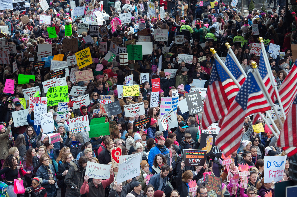 . Protesters march in New York during the Womens March on January 21, 2017.  Hundreds of thousands of people flooded US cities Saturday in a day of women\'s rights protests to mark President Donald Trump\'s first full day in office. (BRYAN R. SMITH/AFP/Getty Images)