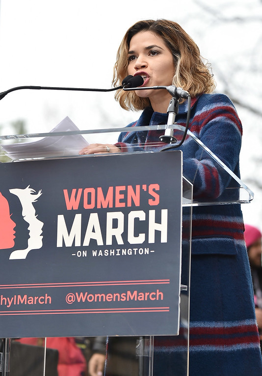 . WASHINGTON, DC - JANUARY 21:  America Ferrera speaks onstage at the Women\'s March on Washington on January 21, 2017 in Washington, DC.  (Photo by Theo Wargo/Getty Images)