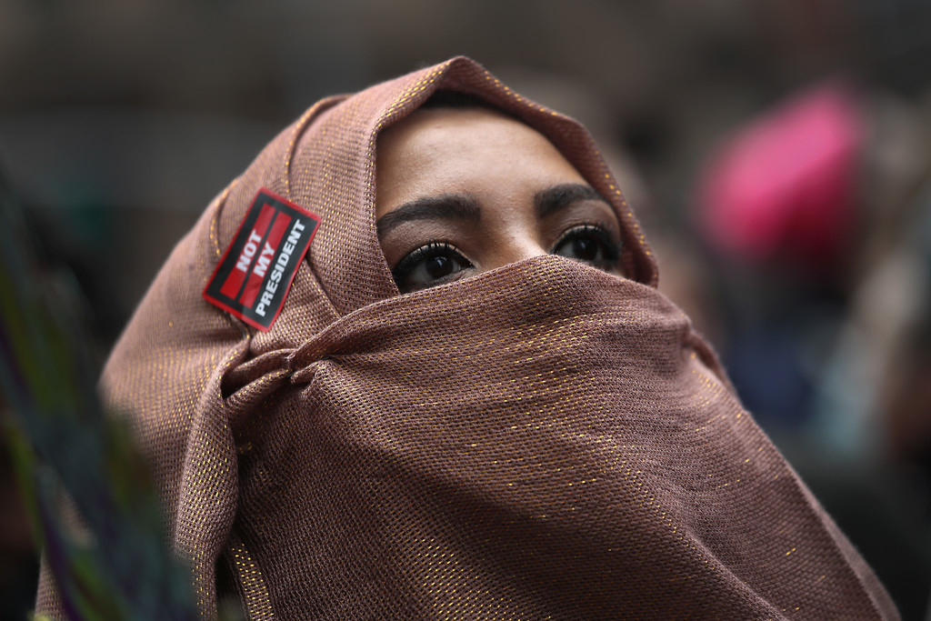. NEW YORK, NY - JANUARY 21:  A Muslim American marches during the Women\'s March on January 21, 2017 in New York City. The Midtown Manhattan event was one of many protests nationwide that came a day after Donald Trump was sworn in as the 45th President of the United States.  (Photo by John Moore/Getty Images)