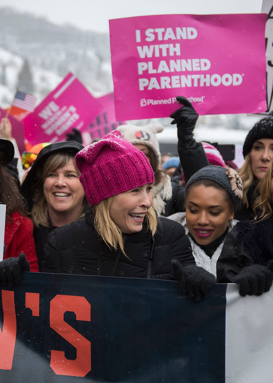 """. Actress Chelsea Handler participates in the \""""Women\'s March On Main\"""" during the 2017 Sundance Film Festival on Saturday, Jan. 21, 2017, in Park City, Utah. (Photo by Arthur Mola/Invision/AP)"""