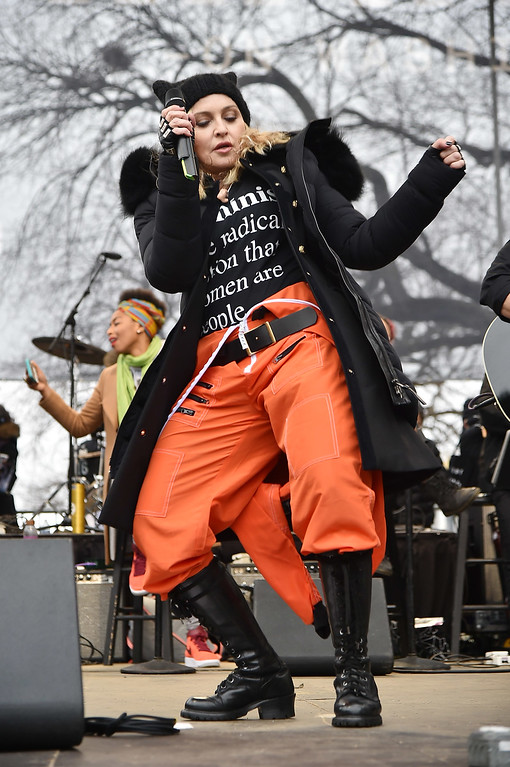 . WASHINGTON, DC - JANUARY 21:  Madonna performs onstage during the Women\'s March on Washington on January 21, 2017 in Washington, DC.  (Photo by Theo Wargo/Getty Images)