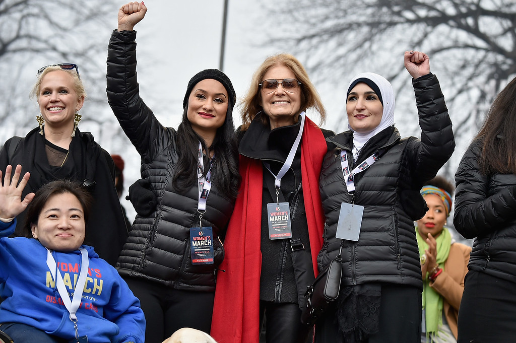 . WASHINGTON, DC - JANUARY 21:  (L-R back row) Ginny Suss, Carmen Perez, Gloria Steinem, Linda Sarsour and (front row) Mia Ives-Rublee  (Photo by Theo Wargo/Getty Images)