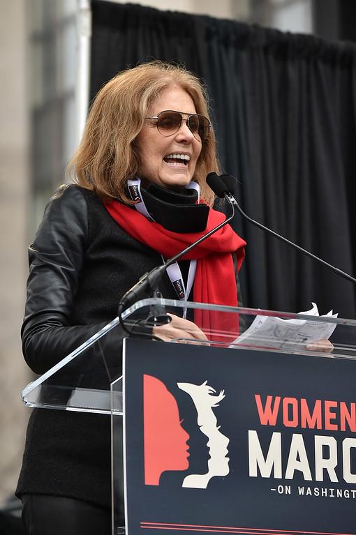 . WASHINGTON, DC - JANUARY 21:  Gloria Steinem speaks onstage during the Women\'s March on Washington on January 21, 2017 in Washington, DC.  (Photo by Theo Wargo/Getty Images)