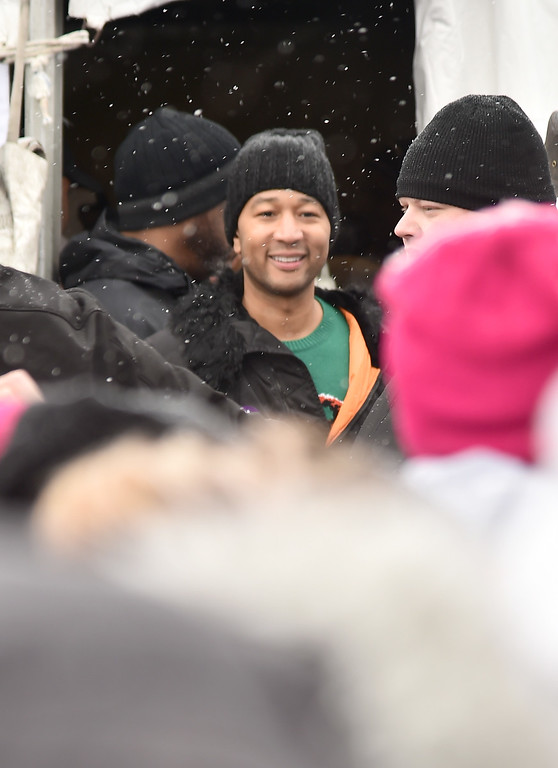 . PARK CITY, UT - JANUARY 21: John Legend during the Women\'s March on Main Street Park City on January 21, 2017 in Park City, Utah.  (Photo by Michael Loccisano/Getty Images)