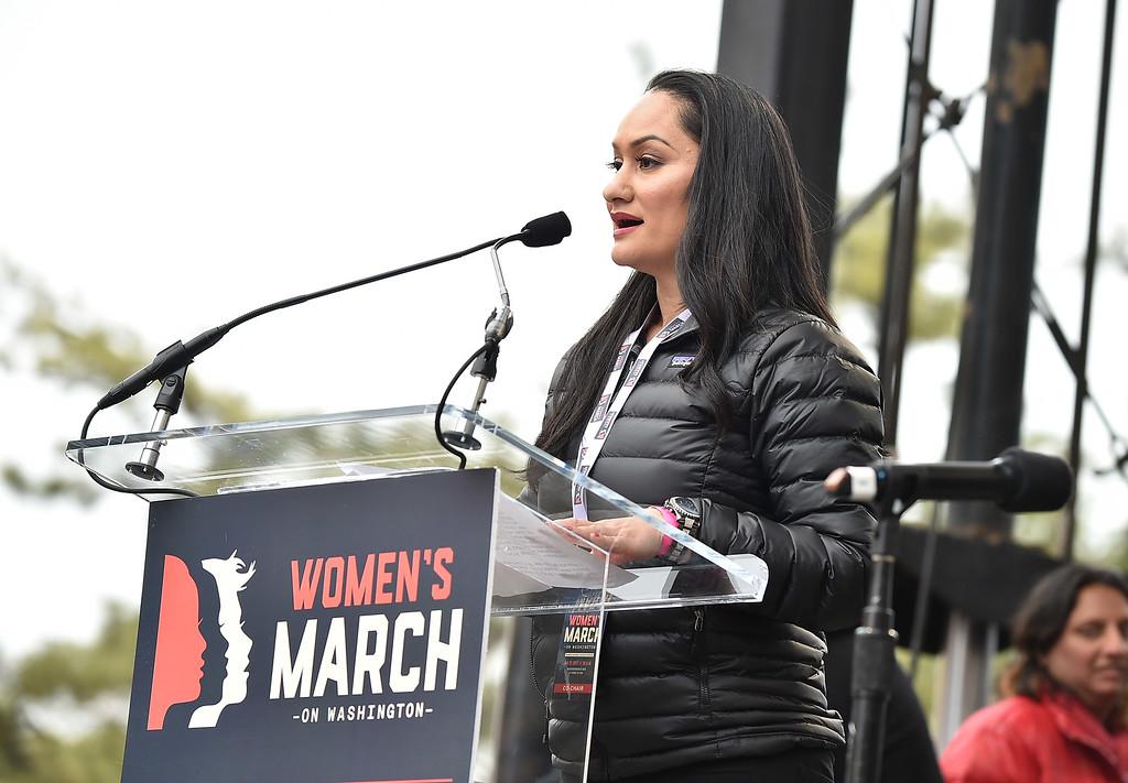 . WASHINGTON, DC - JANUARY 21:  Carmen Perez speaks onstage during the Women\'s March on Washington on January 21, 2017 in Washington, DC.  (Photo by Theo Wargo/Getty Images)