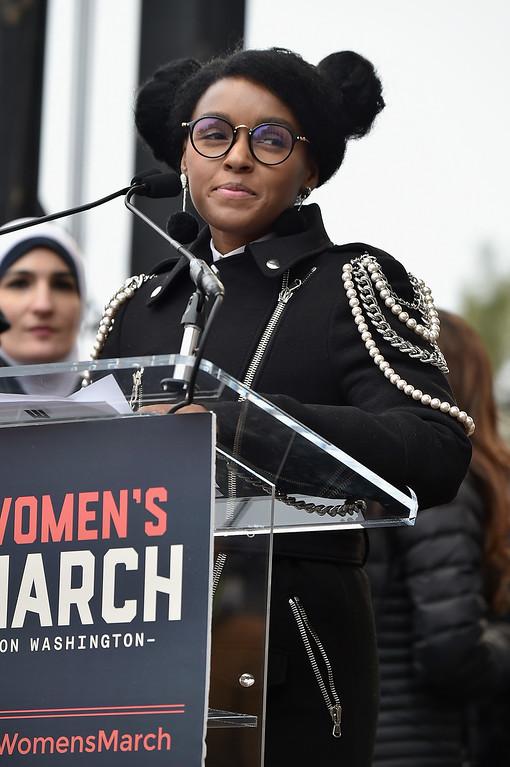 . WASHINGTON, DC - JANUARY 21:  Janelle Monae speaks onstage the Women\'s March on Washington on January 21, 2017 in Washington, DC.  (Photo by Theo Wargo/Getty Images)