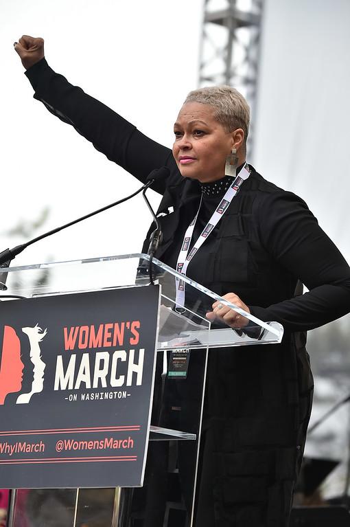 . WASHINGTON, DC - JANUARY 21:  Donna Hylton speaks onstage during the Women\'s March on Washington on January 21, 2017 in Washington, DC.  (Photo by Theo Wargo/Getty Images)
