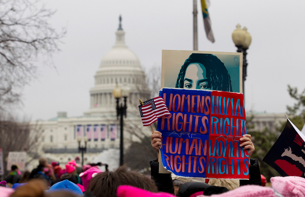 . Women rally at Capitol Hill as they make their voices heard on the first full day of Donald Trump\'s presidency, Saturday, Jan. 21, 2017 in Washington. Organizers of the Women\'s March on Washington expect more than 200,000 people to attend the gathering. Other protests are expected in other U.S. cities. ( AP Photo/Jose Luis Magana)