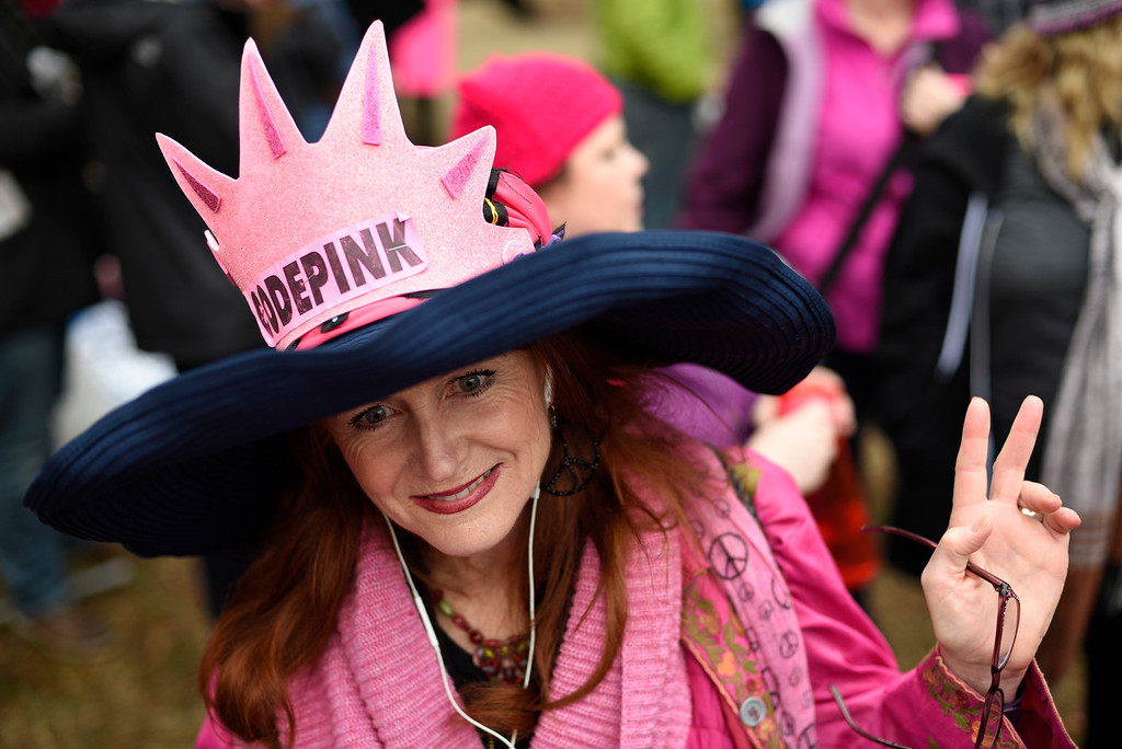 . Jodi Evans from Los Angeles, Calif., attends the Women\'s March on Washington on Independence Ave. on Saturday, Jan. 21, 2017 in Washington, on the first full day of Donald Trump\'s presidency.  Thousands are massing on the National Mall for the Women\'s March, and they\'re gathering, too, in spots around the world.  (AP Photo/Sait Serkan Gurbuz)