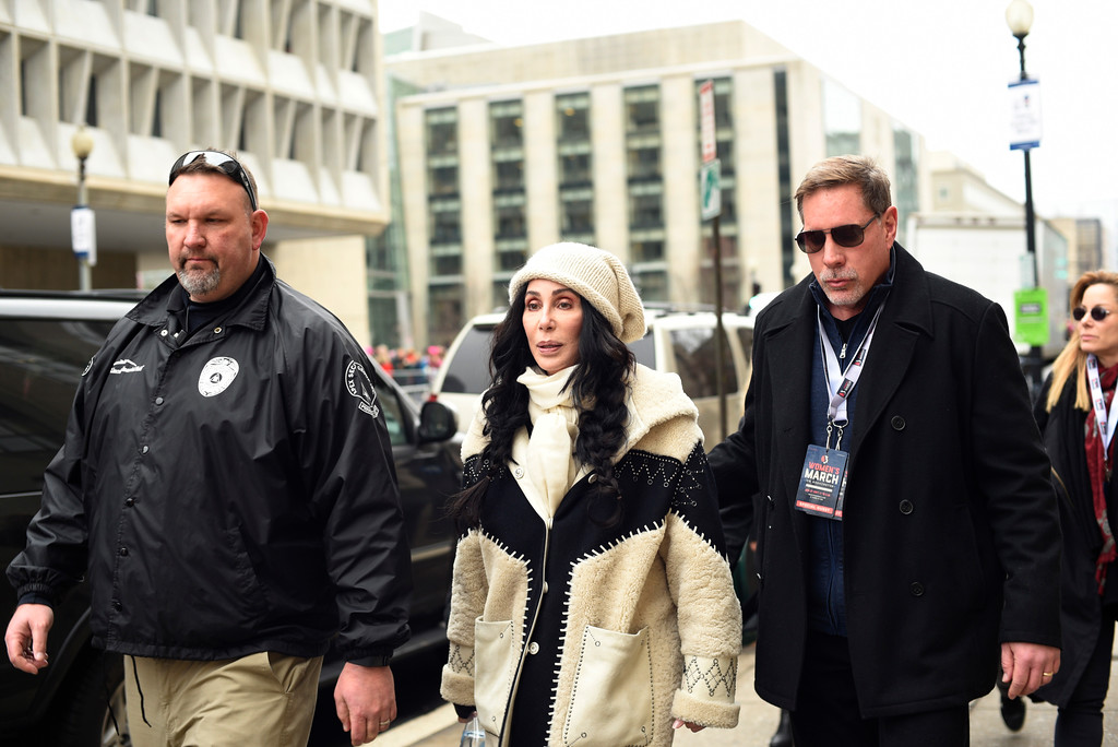 . Cher arrives for the Women\'s March on Washington on Independence Ave. on Saturday, Jan. 21, 2017 in Washington. Thousands are massing on the National Mall for the Women\'s March, and they\'re gathering, too, in spots around the world. (AP Photo/Sait Serkan Gurbuz)