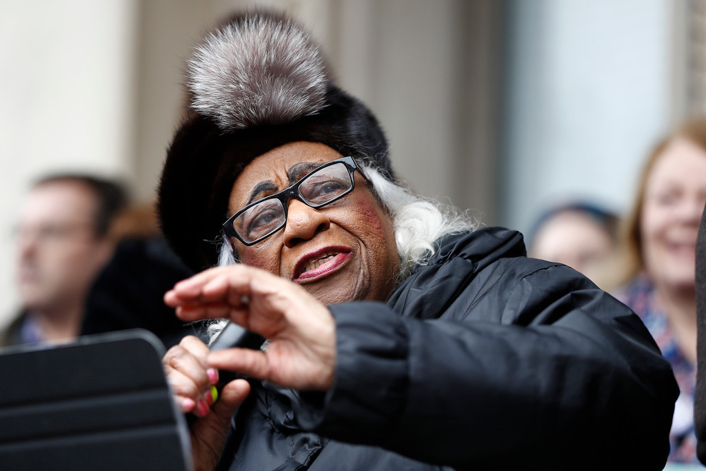 . Civil rights activist Edith Savage-Jennings delivers remarks during a rally in support of the national Women\'s March on Washington during a gathering on the steps of the New Jersey Statehouse, Saturday, Jan. 21, 2017, in Trenton, N.J. The march was held in in conjunction with with similar events taking place around the nation following the inauguration of President Donald Trump. (AP Photo/Julio Cortez)
