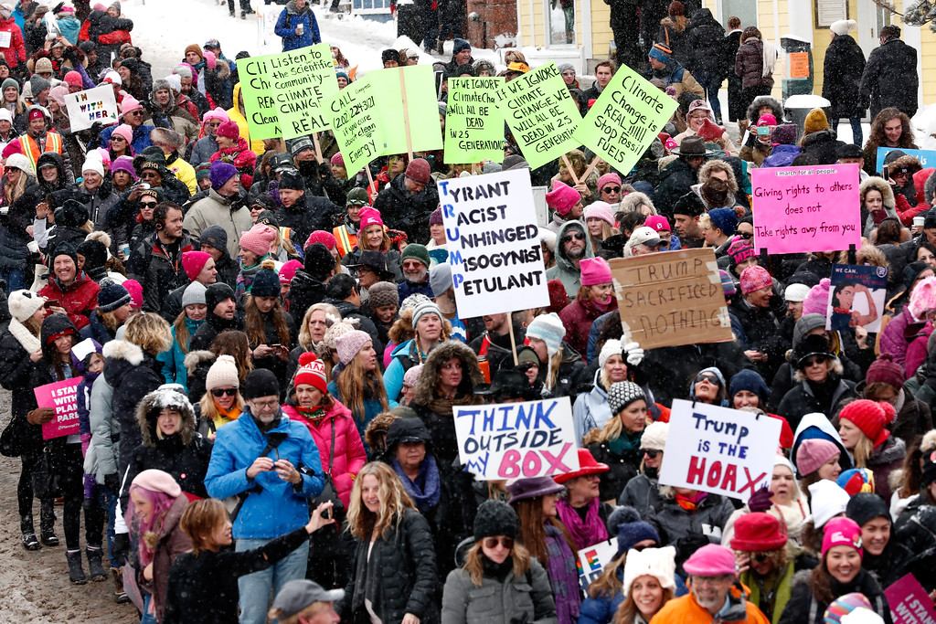 . PARK CITY, UT - JANUARY 21:  Crowds gather for The Women\'s March on Main covered by The IMDb Studio during The 2017 Sundance Film Festival on January 21, 2017 in Park City, Utah.  (Photo by Rich Polk/Getty Images for IMDb)